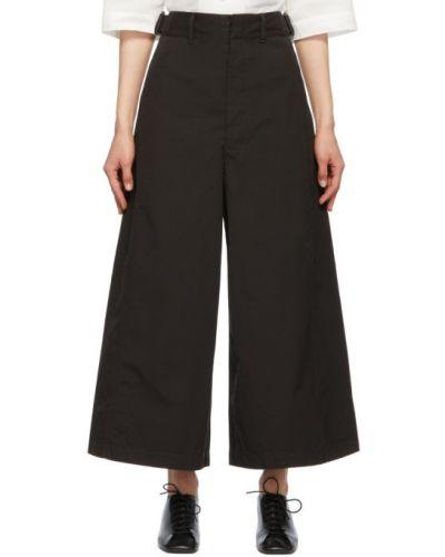 Czarne spodnie bawełniane z paskiem Lemaire