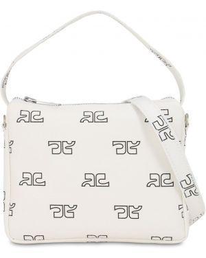 Ażurowa biała torebka z printem Courreges