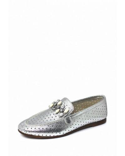Мокасины кожаные серебряного цвета Blizzarini