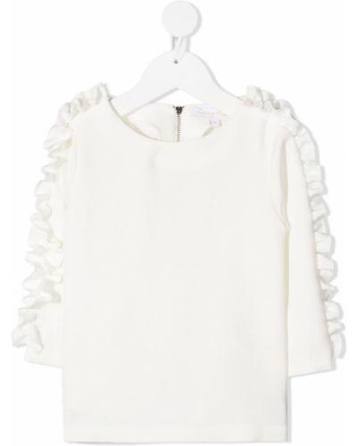 Белая прямая блузка с длинным рукавом с круглым вырезом круглая Tartine Et Chocolat