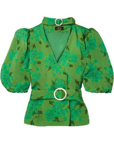 Satynowa bluzka - zielona De La Vali