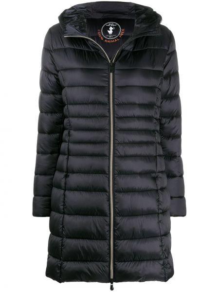 Нейлоновое черное пальто классическое с капюшоном Save The Duck