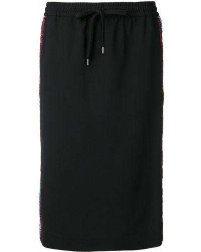 Черная прямая юбка карандаш из вискозы на шнурках N°21