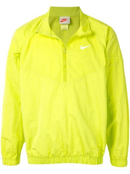 Zielony z rękawami nylon wiatrówka z mankietami Nike