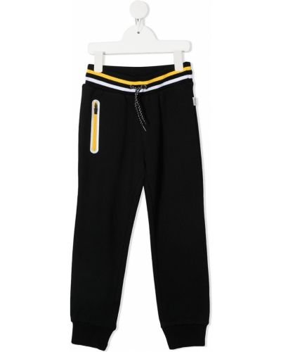 Спортивные черные брюки с нашивками с поясом Paul Smith Junior