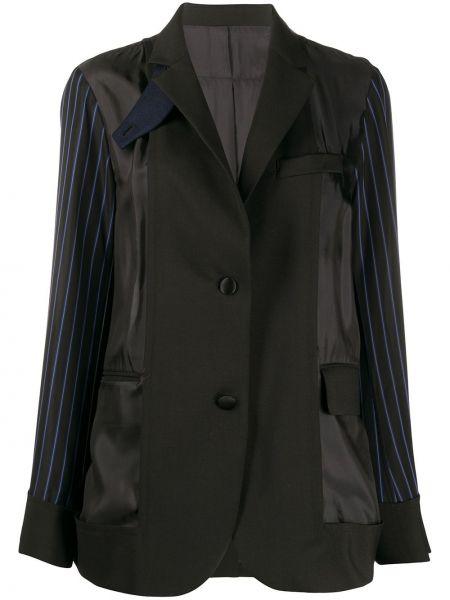 Однобортный черный пиджак с карманами Sacai