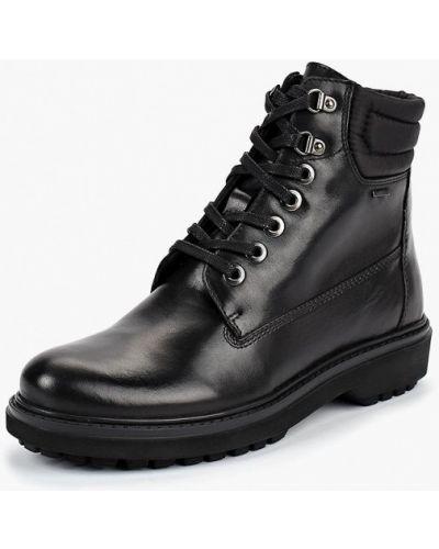 Ботинки на каблуке кожаные черный Geox