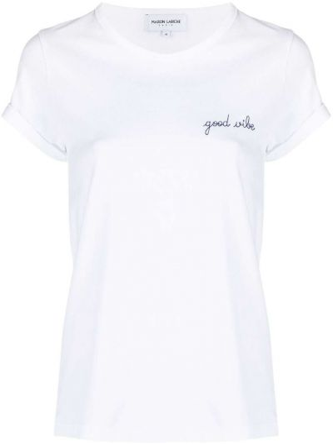 Хлопковая футболка - белая Maison Labiche