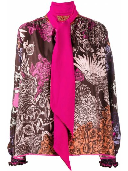 Шелковая прямая розовая блузка с длинным рукавом с бантом F.r.s. For Restless Sleepers