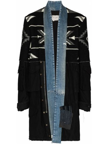Шерстяное черное длинное пальто на пуговицах Greg Lauren