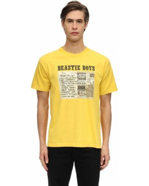 Prążkowany żółty t-shirt bawełniany Fact. X Beastie Boys