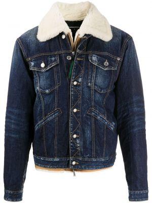 Хлопковая синяя джинсовая куртка с подкладкой Dsquared2