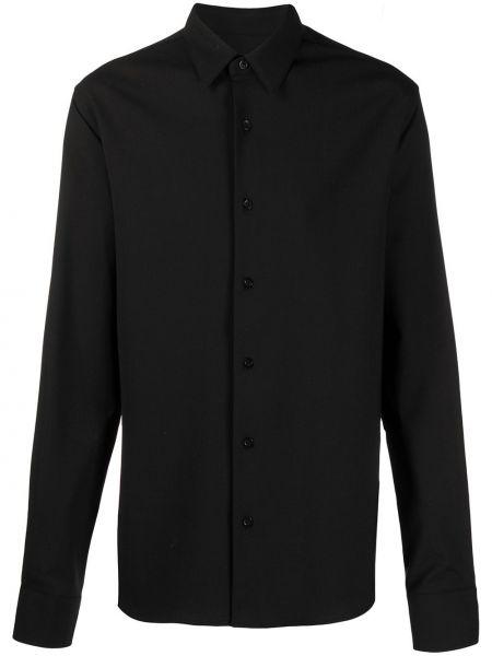 Czarna koszula z długimi rękawami wełniana Ami