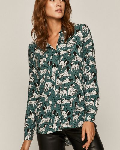Klasyczna koszula z wiskozy turkusowa Medicine