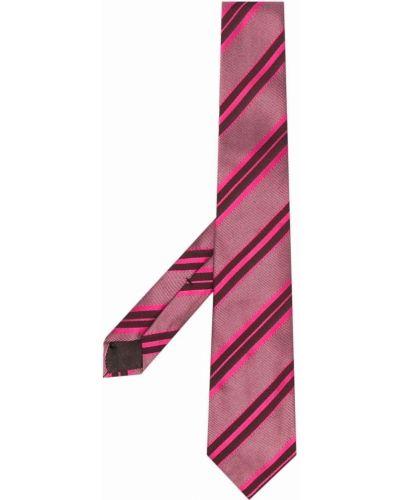 Krawat w paski - różowy Gucci