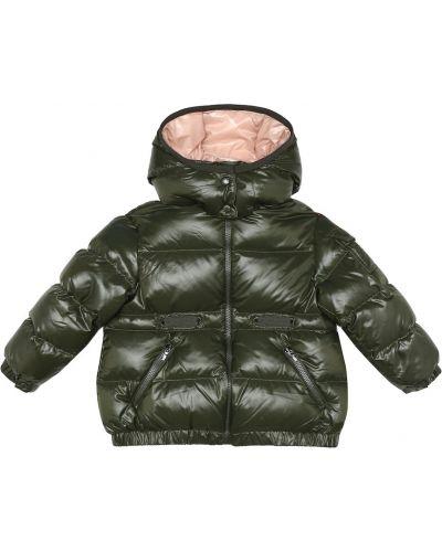 Зеленая пуховая дутая куртка Moncler Enfant