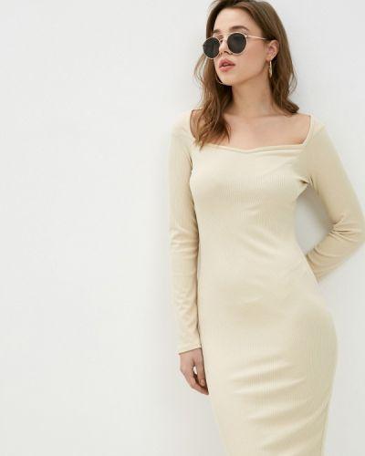 Прямое бежевое платье Hey Look