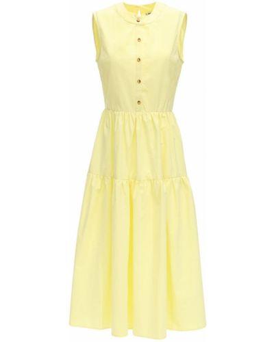 Żółta sukienka midi bez rękawów bawełniana Ciao Lucia