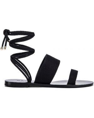 Czarne sandały skorzane kopertowe Raye