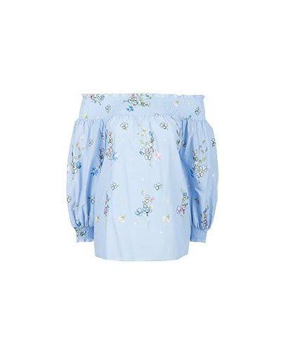 Хлопковая блузка - голубая Blugirl