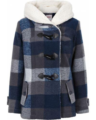 Синяя плюшевая куртка с капюшоном на пуговицах Bonprix