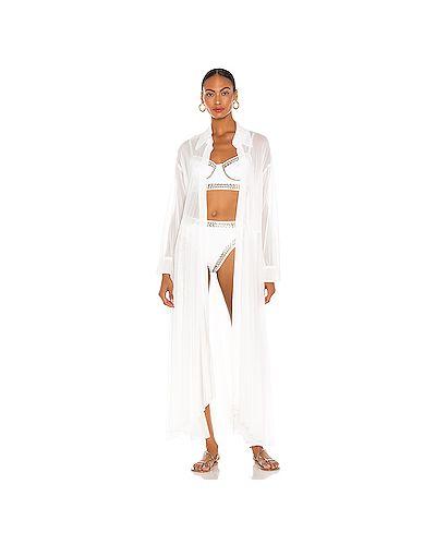 Нейлоновое расклешенное белое кимоно прозрачное Norma Kamali