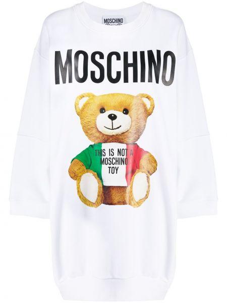Прямое с рукавами белое платье макси Moschino