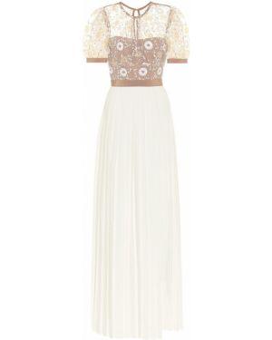 Текстильное белое вечернее платье с вышивкой Self-portrait