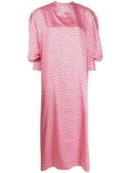 Sukienka midi różowa w groszki Parlor
