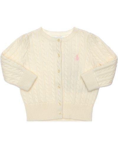 Prążkowany biały kardigan bawełniany Ralph Lauren