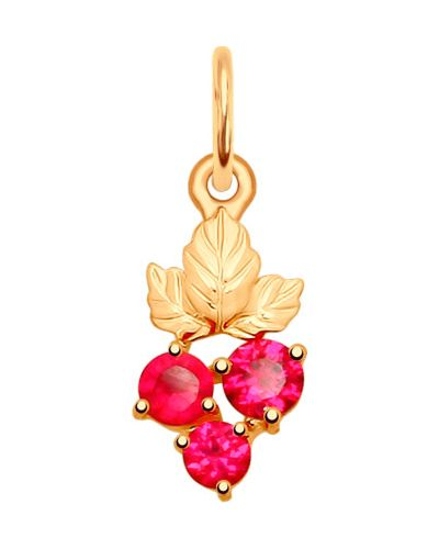 Золотая подвеска с камнями розовый Sokolov