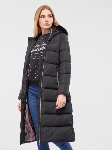 Черное пальто с капюшоном из искусственного меха Geox