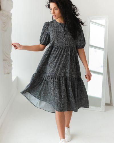 Черное платье трапеция с вырезом Clew