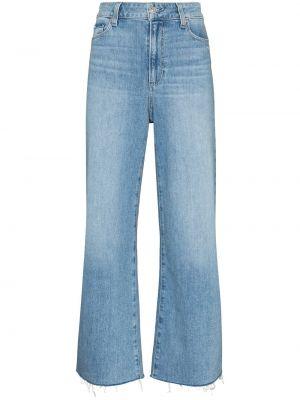 Синие хлопковые прямые джинсы классические Paige