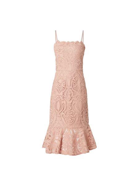 Sukienka koronkowa z falbanami - różowa Chi Chi London