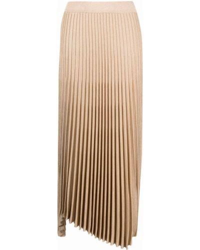 Złota spódnica plisowana z wysokim stanem asymetryczna Mrz