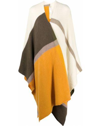 Żółty kaszmir szal z dekoltem w szpic z draperią Massimo Alba