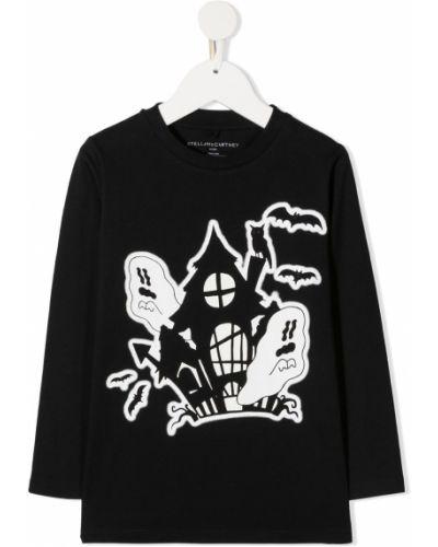 Czarny t-shirt z długimi rękawami bawełniany Stella Mccartney Kids