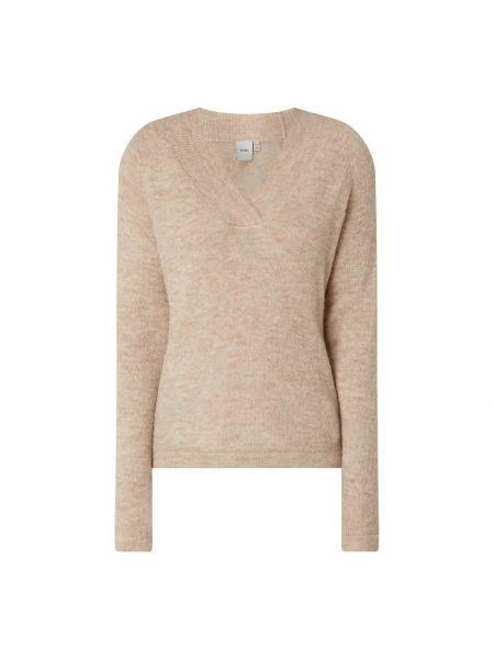 Beżowy sweter z dekoltem w serek z nylonu Ichi