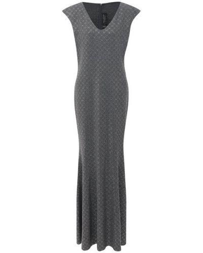 Шерстяное серое платье St. John