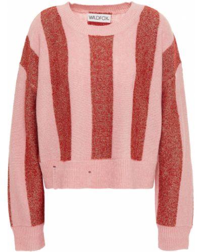 Różowy sweter w paski z akrylu Wildfox