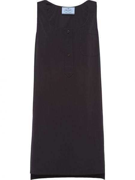 Черное платье на пуговицах без рукавов с вырезом Prada
