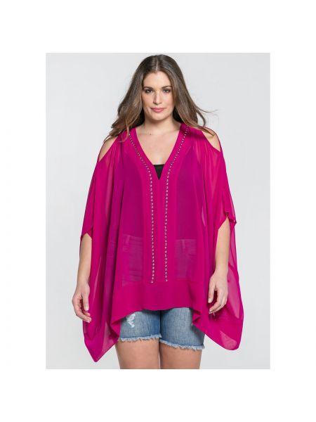 Розовая свободная туника с V-образным вырезом с короткими рукавами Mat Fashion