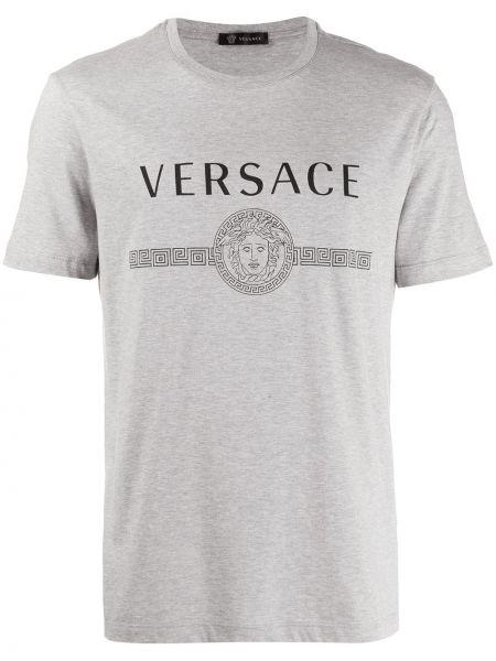 Koszula krótkie z krótkim rękawem z logo z nadrukiem Versace