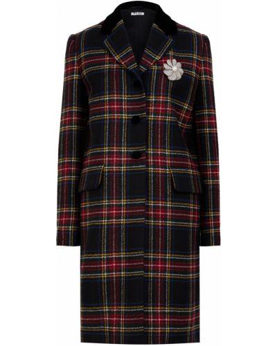 Бархатное прямое пальто с воротником на пуговицах Miu Miu