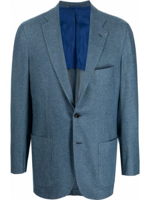 Синий зауженный пиджак Kiton