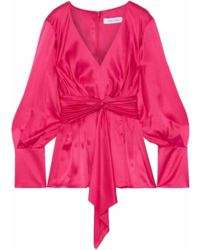 Плиссированная розовая шелковая блузка Prabal Gurung