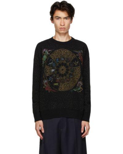 Z rękawami czarny sweter z kołnierzem z mankietami Gmbh