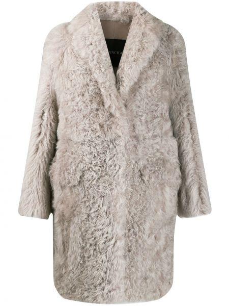 Серое пальто с капюшоном из овчины Blancha