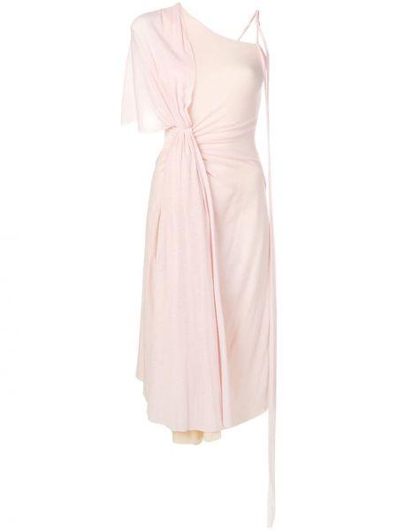 Шерстяное розовое платье на одно плечо Esteban Cortazar